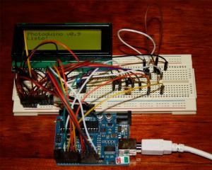 Modelo del circuito de Photoduino en un protoboard